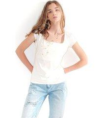 camiseta para mujer, escote cuadrado, manga corta color-blanco-talla-xxs