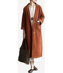 cappotto lungo vintage a maniche lunghe in velluto a coste a maniche lunghe in risvolto