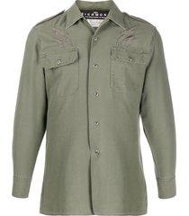 john richmond patchwork military shirt - green