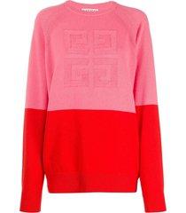 two-tone logo cashmere sweater