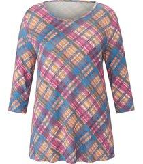 shirt met 3/4-mouwen en ruitprint van anna aura multicolour