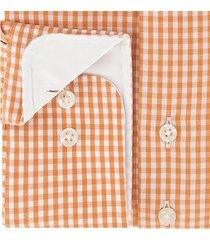 sleeve7 heren overhemd oranje allover ruitjes poplin modern fit