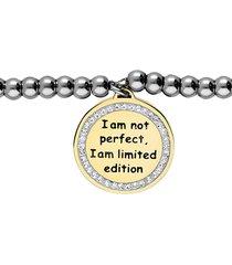 bracciale acciaio cuore oro 'i am not perfect, i am limited edition' per donna