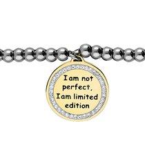 """bracciale """"i am not perfect, i am limited edition"""" in acciaio con ciondolo dorato e strass per donna"""