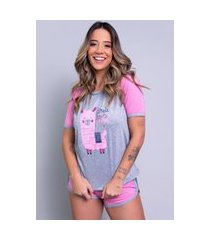 pijama bella fiore modas manga curta estampada adriana rosa