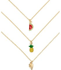 "rachel rachel roy gold-tone 3-pc. set pave pineapple pendant necklaces, 16"" + 3"" extender"