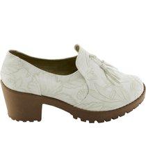 zapato tipo botin flex - blanco