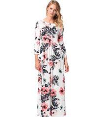 manga de siete cuartos vestidos de mujer largos vestido de playa-blanco