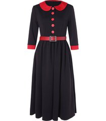 half button peter pan collar contrast color vintage dress