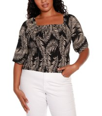 belldini black label plus size palm print puff sleeve smocked top