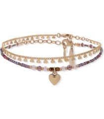 lonna & lilly gold-tone 2-pc. set heart charm & beaded ankle bracelets