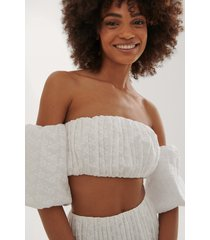 curated styles croppad broderad topp - white