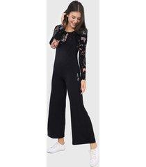 macacão hang loose pantalona trend fleece preto
