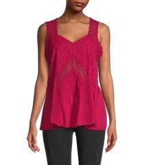 johnny was women's harper sleeveless cotton blouse - pomegranate - size xs