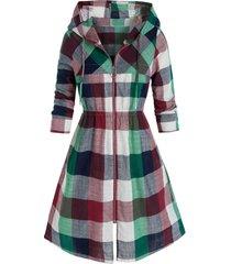 plus size madras plaid hooded zip up coat