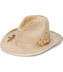 nick fouquet embellished fedora hat - neutrals