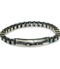 jean claude men's gunmetal-tone sterling silver box chain bracelet
