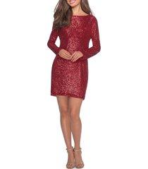 women's la femme long sleeve sequin cocktail dress, size 4 - red