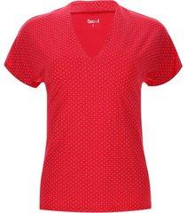 camiseta mujer cuello smoking puntos color rosado, talla 10