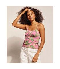 regata feminina emi beachwear estampada bananeira com franzido alça fina decote redondo rosa