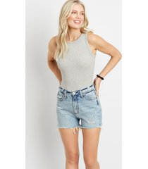 silver jeans co.® womens high rise light ripped 3in shorts blue denim - maurices