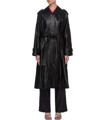 drawstring hem leather coat