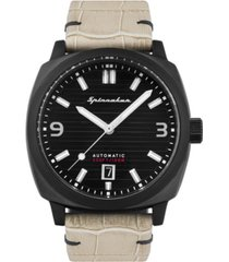 spinnaker men's hull riviera automatic cream genuine leather strap watch 42mm