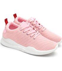 tenis mujer rosa con cinta color rosado, talla 36