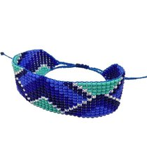 pulsera mostacilla azules