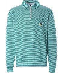 ymc sugden cotton loopback stripe zip sweatshirt | ecru/green | p7qar-11