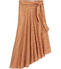 asymmetrisk, lång kjol med blommönster