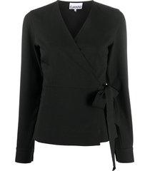 ganni wrap-front tie-side blouse - black