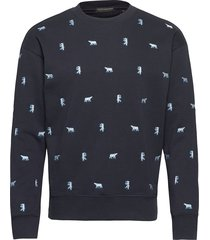 crewneck sweat with all-over mini embroidery sweat-shirt trui blauw scotch & soda