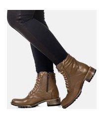 bota cano curto coturno feminina couro confort marrom