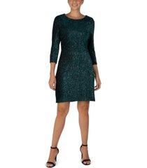 julia jordan 3/4-sleeve shiny textured velvet sheath dress
