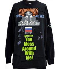 patchwork long sleeve sweater black