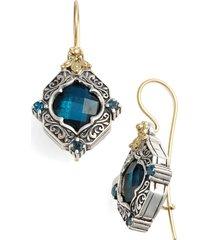 konstantino 'thalassa' drop earrings in silver/gold/blue topaz at nordstrom