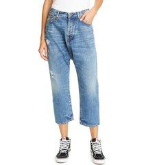women's r13 tailored drop straight leg crop jeans, size 26 - blue
