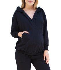 women's ingrid & isabel cozy maternity/nursing hoodie, size medium - black