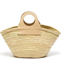 'cabas' circular leather handle straw tote