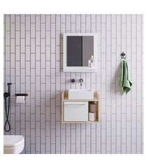 conjunto para banheiro bangkok com gabinete suspenso 1 pt branco e off white