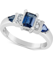 sapphire (1-1/10 ct. t.w.) & diamond (1/8 ct. t.w.) ring in 14k white gold
