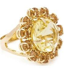 anel banho de ouro formato de flor cristal