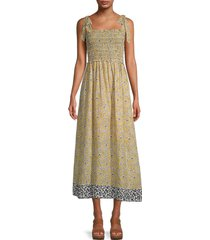 max studio women's floral smocked dress - mustard yellow combo - size s