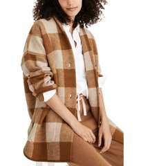women's madewell buffalo check sweater coat, size medium - brown