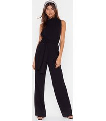 womens life is a dancefloor high neck belted jumpsuit - black