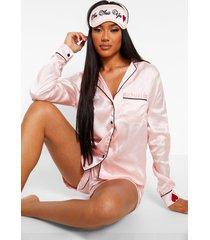 korte geborduurde 'i'm into you' pyjama set, blush