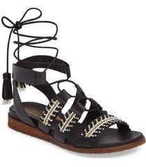 women's pikolinos antillas beaded ghillie sandal, size 40 eu - black