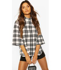 flannel puff shoulder roll neck swing top, nude
