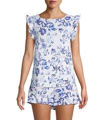 floral-print linen top